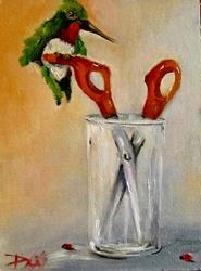 Art: Scissors and Hummingbird by Artist Delilah Smith