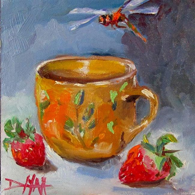 Art: Coffee Cup with Strawberries and Dragonfly by Artist Delilah Smith
