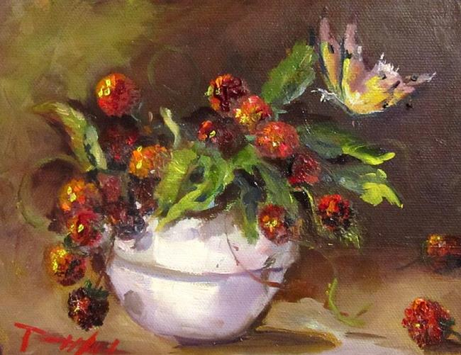 Art: Bowl of Raspberries and Butterfly-sold by Artist Delilah Smith