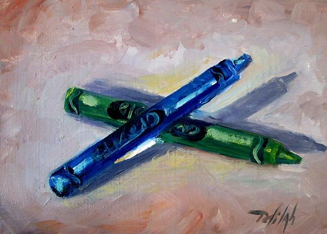 Art: Green and Blue Crayon-SOLD by Artist Delilah Smith
