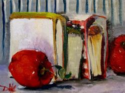 Art: Books and Apples-Sold by Artist Delilah Smith