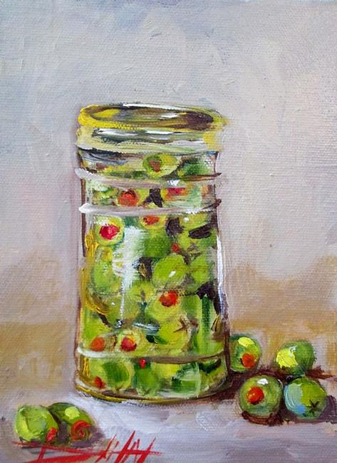 Art: Jar of Olives by Artist Delilah Smith