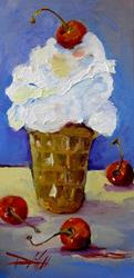 Art: Ice Cream with Cherries by Artist Delilah Smith