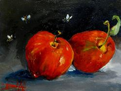 Art: Apples and Bees by Artist Delilah Smith