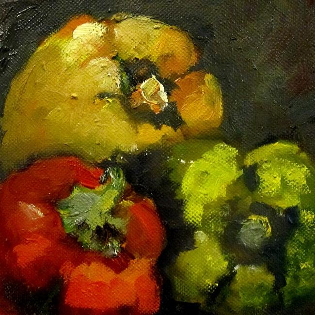 Art: Colorful Peppers by Artist Delilah Smith