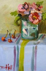 Art: Floral Still Life with Cherries by Artist Delilah Smith