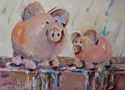 Art: Rainy Day Piggy Banks by Artist Delilah Smith