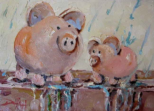 Art: Rainy Day Piggy Banks by Artist Delilah Smith