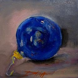 Art: Blue Christmas Ornament by Artist Delilah Smith