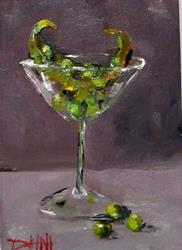 Art: Martini Glass with Peas by Artist Delilah Smith