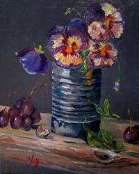 Art: Tin Can and Purple Pansies by Artist Delilah Smith