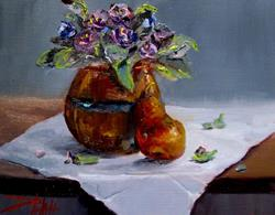 Art: Violets and Pear by Artist Delilah Smith
