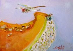 Art: Melon Slice with Dragonfly by Artist Delilah Smith