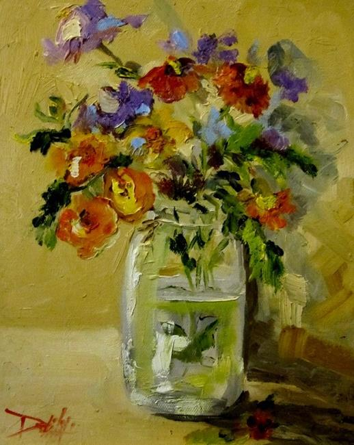 Art: Ball Jar and Flowers by Artist Delilah Smith
