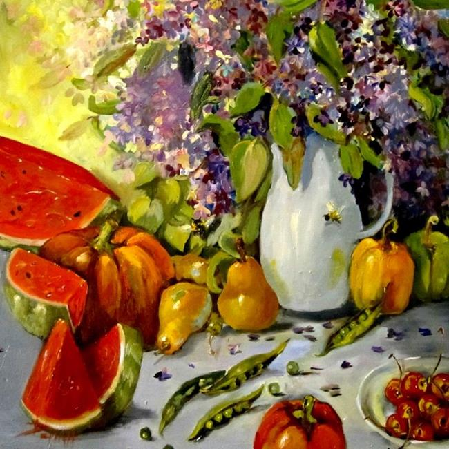 Art: Still Life with Lilacs by Artist Delilah Smith