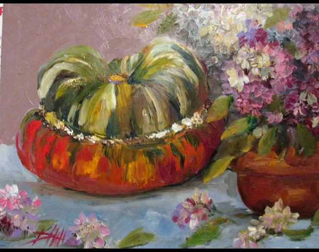 Art: Turban Squash and Hydrangea by Artist Delilah Smith