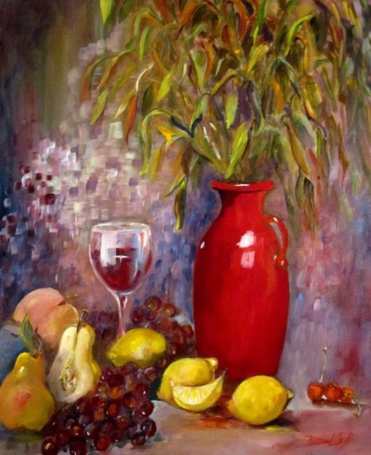 Art: Red Vase by Artist Delilah Smith