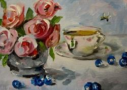 Art: Pink Roses and Blueberries by Artist Delilah Smith