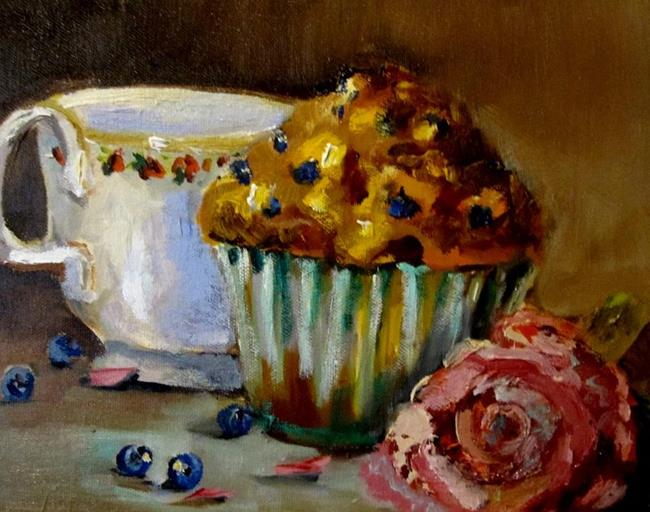 Art: Blue Berries,Muffin,Cup and Rose by Artist Delilah Smith