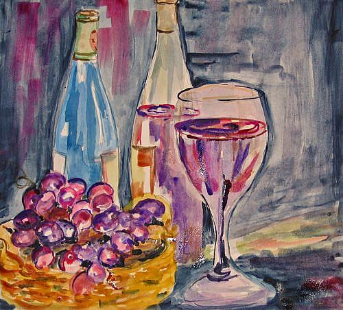 Art: Wine Glass and WIne-sold by Artist Delilah Smith