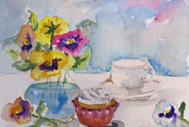 Art: Still Life with Pansies and Cupcake by Artist Delilah Smith