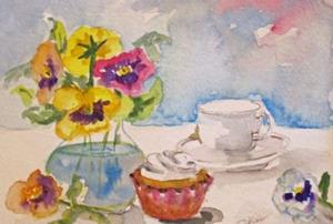 Detail Image for art Still Life with Pansies and Cupcake