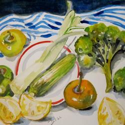 Art: Vegetables and Lemons by Artist Delilah Smith