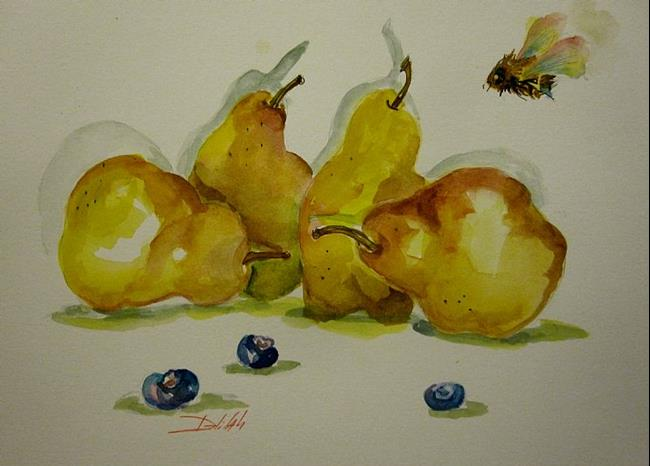 Art: Pears, Blue Berries and a Bee by Artist Delilah Smith