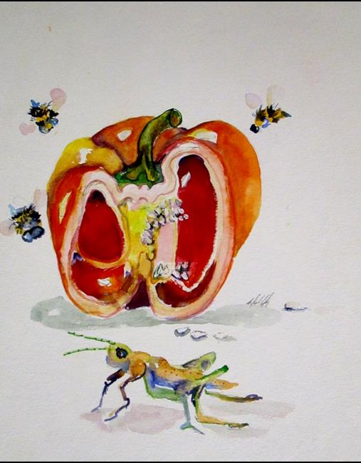 Art: Red Pepper and Grasshopper by Artist Delilah Smith