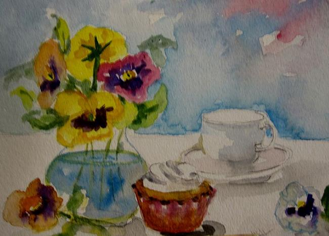 Art: Still Life with Pansies by Artist Delilah Smith