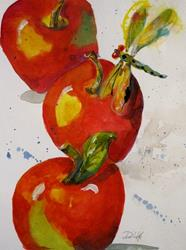 Art: Apples and Dragonfly by Artist Delilah Smith