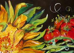 Art: Sunflower and Vegetables by Artist Delilah Smith