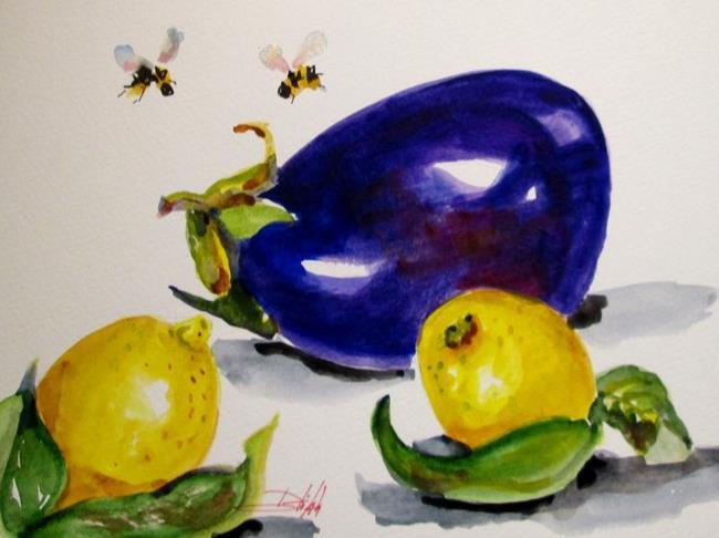 Art: Eggplant and Lemons-sold by Artist Delilah Smith