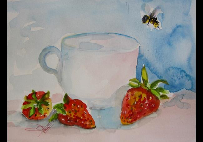 Art: Strawberry and Cup by Artist Delilah Smith