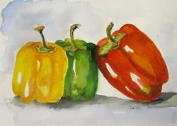 Art: Three Peppers No. 2 by Artist Delilah Smith