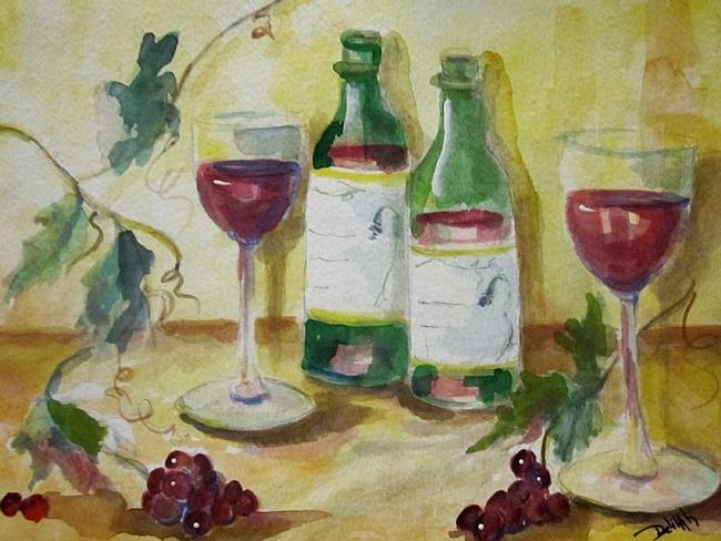 Art: Wine and Grapes by Artist Delilah Smith