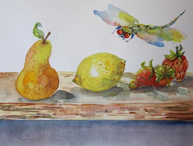 Art: Dragonfly with Fruit by Artist Delilah Smith