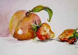 Art: Peach and Strawberries by Artist Delilah Smith