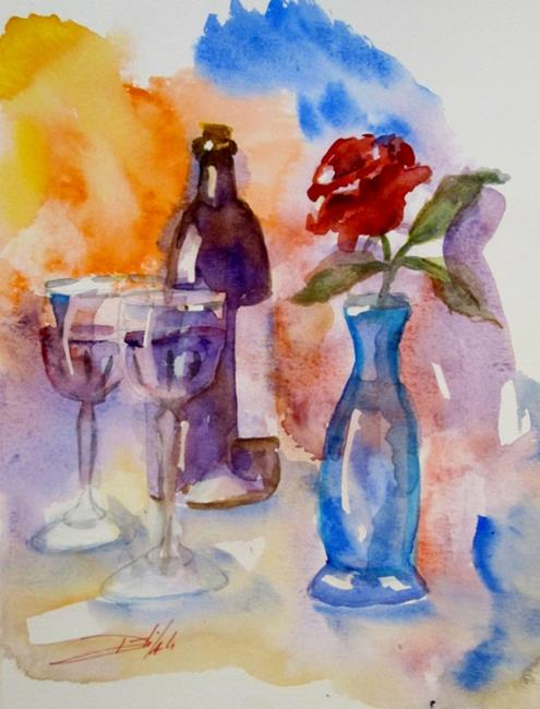Art: Wine and Rose- sold by Artist Delilah Smith