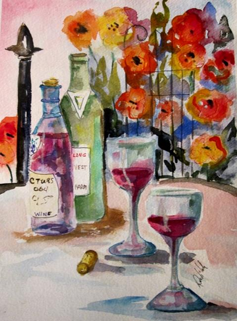 Art: Wine and Flowers-sold by Artist Delilah Smith