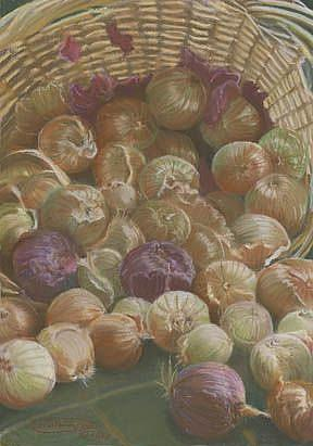 Art: A Basket Of Onions by Artist Carol Thompson