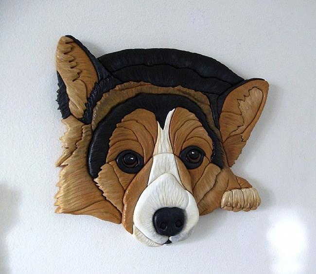 Art: Still Waiting..... Corgi Original Intarsia Art by Artist Gina Stern