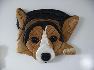 Detail Image for art Still Waiting..... Corgi Original Intarsia Art