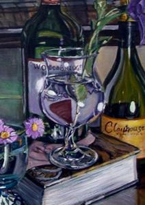 Detail Image for art Wine Bottles, Book and Glasses
