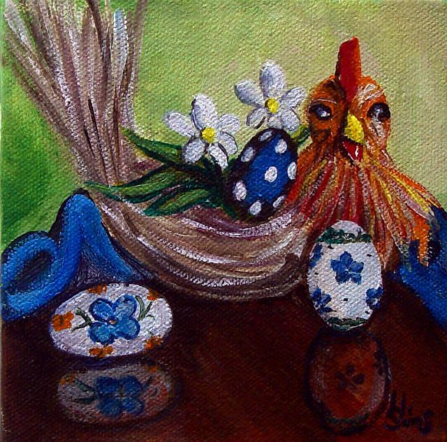 Art: Chicken and Eggs: Polish Pottery XLVb© by Artist Heather Sims