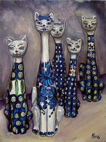 Art: Cats: Polish Pottery LI by Artist Heather Sims