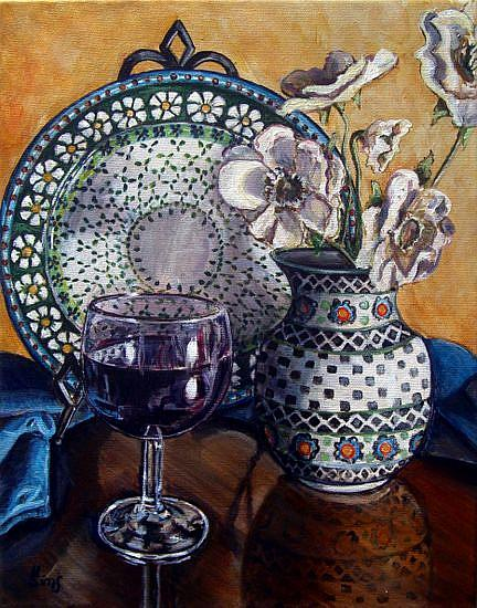 Art: Glass of Wine: Polish Pottery LIV by Artist Heather Sims