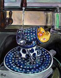 Art: Duck out of water: Polish Pottery LVII by Artist Heather Sims