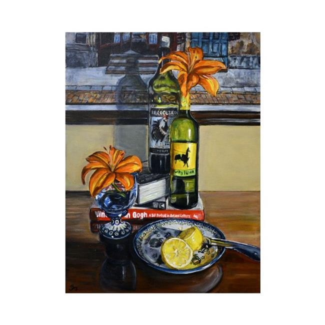 Art: Wine Bottles and Flowers: Polish Pottery LX by Artist Heather Sims