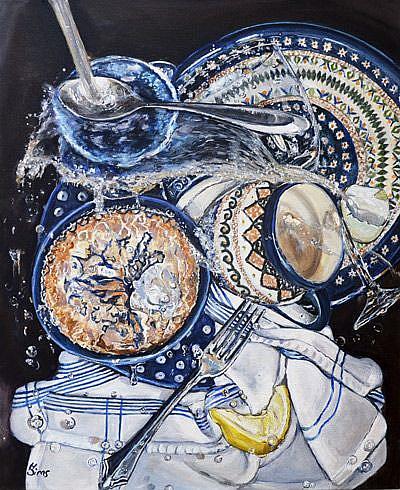 Art: Sink Splatter: Polish Pottery LXII by Artist Heather Sims